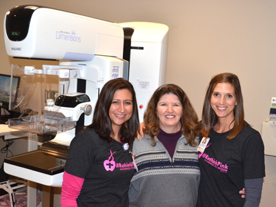 Image of JRMC mammography team and patient Brenda Skavroneck during No Exucses event.