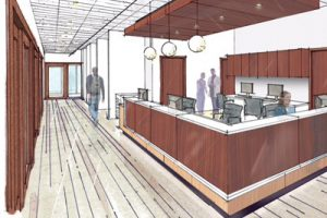 Rendering Duane and Kathy Enzminger Oncology Nurses Station at JRMC Cancer Center, Jamestown, ND
