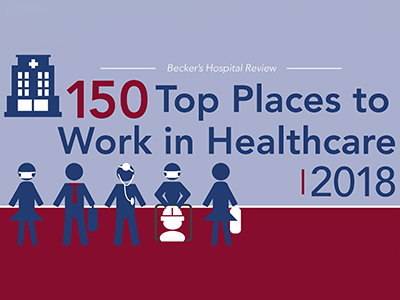 "Jamestown Regional Medical Center recently made the Becker's Healthcare ""150 Top Places to Work in Healthcare 