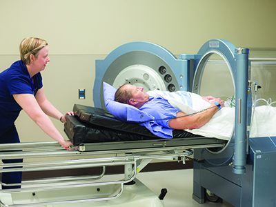 JRMC is the first in North Dakota to offer HBOT. HBOT is known as hyperbaric oxygen therapy.