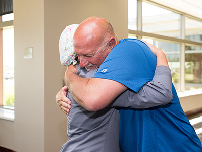 After an accident, Jeff Brown couldn't work at his job. Pain encompassed his life. Needing help below the belt, he called JRMC Urologist, Dr. Robert Bates.