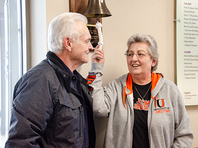 After chemotherapy in Jamestown, radiation in Colorado, surgery as well as other services in Bismarck, Sharon Yoder rang the JRMC Cancer Center bell.