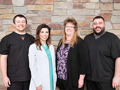 The JRMC Cancer Center care team consists of Oncology Nurse Practitioner Laura Bond, Registered Nurses Garret Hillius and K.C. Robison, as well as Patient Access Clerk Lori Vondal.