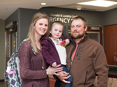 When Lou felt ill, parents Nick and Andrea Fayville brought her into the JRMC Emergency Department.