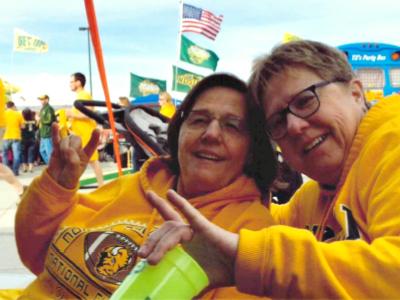 JRMC Orthopedic Surgeon, Dr. Michael T. Dean, replaced NDSU Bison fan, Glenda Hust's joint. Hust is now able to attend Bison football games once again.
