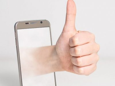 image of thumbs up phone survey